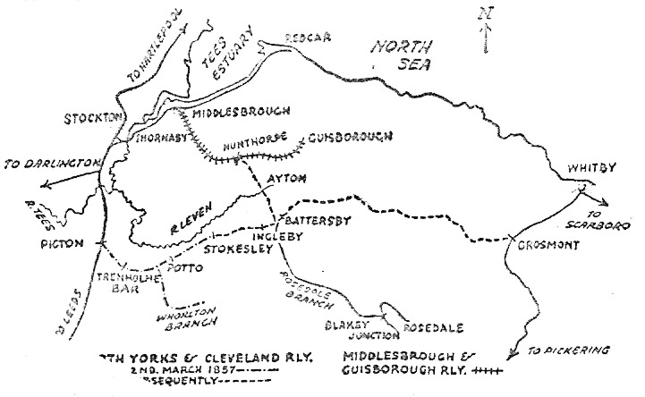 Map of Picton to Stokesley Line 1857
